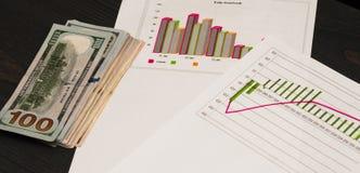 Aktiemarknaddiagram Många dollarräkningar på förgrunden diagram av en olik färg royaltyfri foto