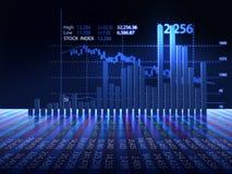 Aktiemarknaddiagram på reflekterande yttersida 3dillustration Royaltyfri Foto