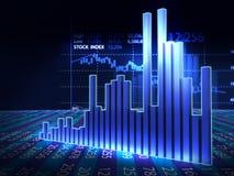 Aktiemarknaddiagram på reflekterande yttersida 3dillustration Arkivbilder