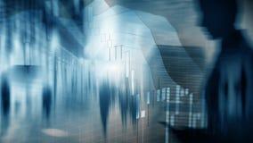 Aktiemarknaden citerar grafen Affärskvinna för dubbel exponering och aktiemarknad- eller forexgraf som är passande för finansiell stock illustrationer