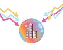 Aktiemarknadgraf ner som poppar egenskapsbubblan Arkivbilder