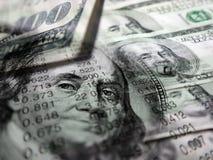 Aktiemarknadgrafer och pengar Arkivbild
