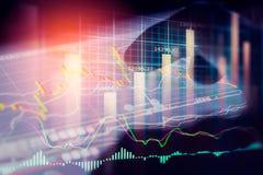 Aktiemarknadindikator och sikt för finansiella data från LETT double royaltyfri bild