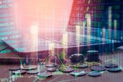 Aktiemarknadindikator och sikt för finansiella data från LETT double arkivfoton
