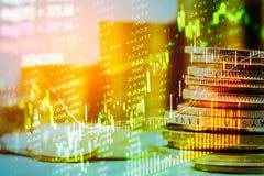 Aktiemarknadindikator och sikt för finansiella data från LETT double royaltyfri foto