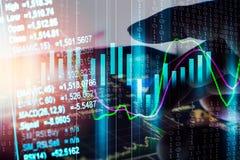 Aktiemarknadindikator och sikt för finansiella data från LETT double arkivbild