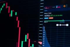 Aktiemarknadonline-diagram av Bitcoin valutatillväxt upp till 10000 US dollar - investering, e-kommers, finansbegrepp Royaltyfri Fotografi