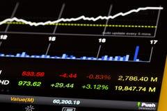 Aktiemarknadvärden och diagram som går upp Fotografering för Bildbyråer