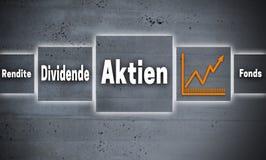Aktien στις γερμανικές μετοχές, μέρισμα, παραγωγή, οθόνη επαφής κεφαλαίων con διανυσματική απεικόνιση