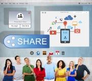 Aktien förbinder meddelar överföringsmolnbegrepp royaltyfri foto