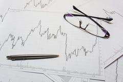 Aktienhandeldiagramm Stockfoto