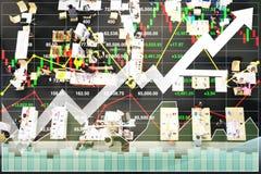 Aktienindexdaten bezüglich des erfolgreichen Wachstums im Rabattverkauf Stockbilder