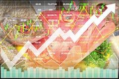 Aktienindexfinanziellwirtschaftliches im neuen gesunden Lebensmittel industriell Lizenzfreie Stockfotos