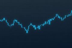 Aktienkurve auf blauem Gitterhintergrund Abbildung 3D Stockbilder