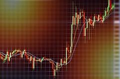 Aktienkurve im Monitor-Investitionskonzept Stockbild