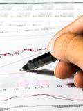 Aktienkurvedaten Stockbild