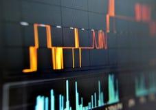 Aktienkurven auf LCD-Bildschirm Lizenzfreies Stockbild