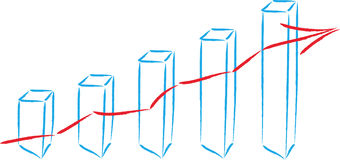 Aktienpreis, Balkendiagramm, Bilanz, Geschäft Lizenzfreies Stockbild