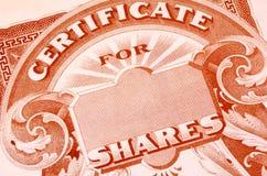 Aktienzertifikat Stockbild