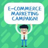 Aktion för marknadsföring för kommers för handskrifttext E Begreppsbetydelse som kör medvetenhet av märket fast online-man stock illustrationer