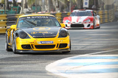 Aktion GT3 Porsches 997 in Thailand-Super-Reihe Stockfotos