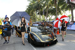 Aktion Lamborghinis Gallardo in Thailand-Super-Reihe Stockfotos