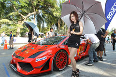 Aktion Lamborghinis Gallardo in Thailand-Super-Reihe Stockbilder