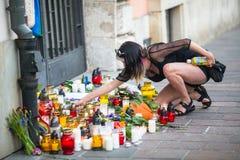 Aktion nahe amerikanischem Konsulat zum Gedenken an Opfer des Massakers in populärem homosexuellem Verein Impuls in Orlando Lizenzfreies Stockfoto