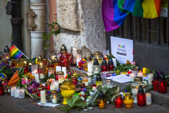 Aktion nahe amerikanischem Konsulat zum Gedenken an Opfer des Massakers in populärem homosexuellem Verein Impuls in Orlando Lizenzfreie Stockfotos