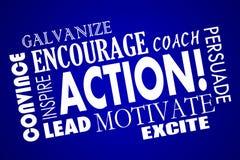 Aktion regen motivieren anspornen Führungs-Zug Word an Stockbild