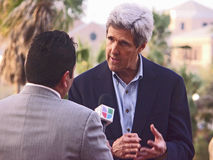 aktionJohn Kerry obama södra texas Royaltyfri Fotografi