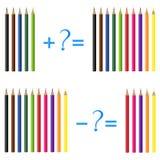 Aktions-Verhältnis des Zusatzes und des Abzugs, Beispiele mit Bleistiften Lernspiele für Kinder Lizenzfreies Stockfoto