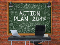 Aktionsplan 2017 auf Tafel mit Gekritzel-Ikonen 3d Stockfoto