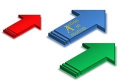 Aktionsplan-Knopf klicken hier Block-Text über weißem Hintergrund Stockbilder
