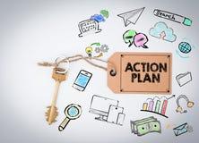 Aktionsplan Schlüssel auf einem weißen Hintergrund Lizenzfreies Stockfoto