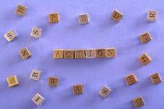Aktionswort-Metallblock lizenzfreie stockfotos