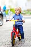 Aktiv blond ungepojke i färgrik kläder som kör jämvikt och elevs cykel eller cykel i inhemsk trädgård Litet barnbarn royaltyfri foto