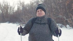 Aktiv eine ältere Frau teilgenommen an dem nordischen Gehen mit Stöcken im Winterwaldgesunden Lebensstilkonzept fällig stock footage