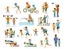 Aktiv familjfader- och sonsamling, man och pojke som spelar amerikansk fotboll, fotbollboll och att flyga surret som rider cykelf vektor illustrationer