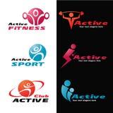 Aktiv fastställd design för kondition- och sportlogovektor Arkivbilder