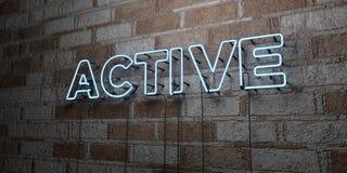 AKTIV - Glühende Leuchtreklame auf Steinmetzarbeitwand - 3D übertrug freie Illustration der Abgabe auf Lager lizenzfreie abbildung