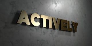 Aktiv - Goldzeichen angebracht an der glatten Marmorwand - 3D übertrug freie Illustration der Abgabe auf Lager lizenzfreie abbildung
