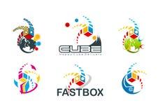 Aktiv kublogo, hastighetsasksymbol, snabb destinationsbegreppsdesign royaltyfri illustrationer