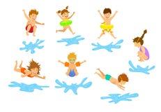 Aktiv lurar barn, pojkar och flickor som dyker banhoppning in i simbassängvatten vektor illustrationer