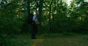 Aktiv man med ryggsäcken som går på banan i härlig skog på solnedgången arkivfilmer