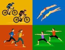Aktiv sund uppsättning för livsstilsportgenomkörare vektor illustrationer