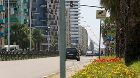 Aktiv trafik i Batumi gator, aktivt stads- liv i modern stad, Georgia arkivfilmer