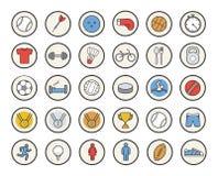 Aktiv uppsättning för symboler för sportlekfärg Arkivfoton