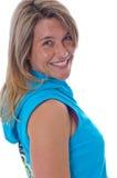 Aktive blonde Frauenaufstellung Lizenzfreie Stockfotografie