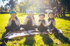 Aktive Familienurlaubnatur des Themas kleine kleine Kinder der Gruppenleute drei Brüder und Schwester sitzen onblanket nahe stockbild